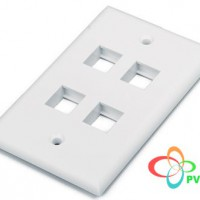 COMMSCOPE/AMP US Style Flush Faceplate, 4-Port, Almond