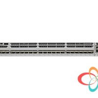 Cisco Catalyst 3850 24 SFP+ port stackable model, with C3850-NM-8-10G module and 715WAC power supply. 1 RU, IP Services feature set